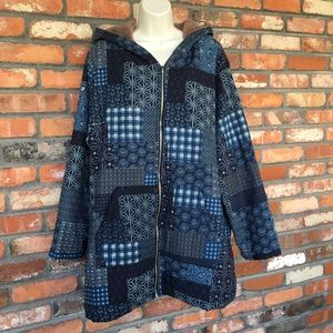 Patchwork Zippered Jacket with Hood
